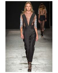 Francesco Scognamiglio | Sheer Lace Black Top | Lyst