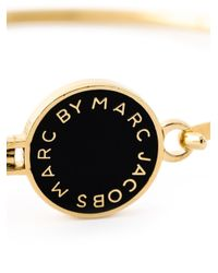Marc By Marc Jacobs - Black Logo Plaque Bangle - Lyst