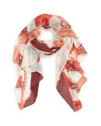 Hinge - Orange 'rustic Stamp' Scarf - Coral - Lyst