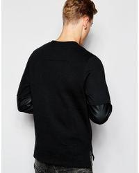 Jack & Jones - Black Sweatshirt With Faux Leather Panel for Men - Lyst