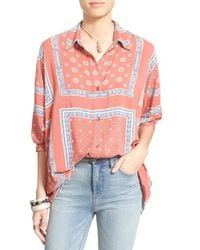 Free People | Orange 'little Secrets' Voile Shirt | Lyst