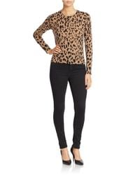 Lord & Taylor | Brown Plus Cashmere Animal Print Cardigan | Lyst