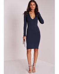 Missguided - Blue Ponte Long Sleeve Plunge Midi Dress Navy - Lyst