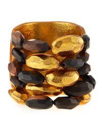 Viktoria Hayman - Metallic Tiger Wood And Gold Bead Cuff Bracelet - Lyst