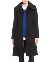 Eliza J | Black Brushed Wool Blend Fit & Flare Coat | Lyst