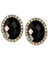 Anne Klein - Black Gold-Tone Jet Stone Button Earrings - Lyst