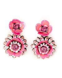 Shourouk | Pink Flower Clip-on Earrings | Lyst