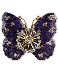 Jones New York - Metallic Gold-Tone Crystal Purple Butterfly Pin - Lyst