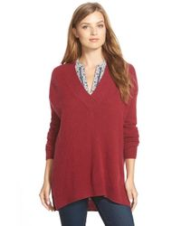 Halogen | Red Surplice V-neck Cashmere Sweater | Lyst