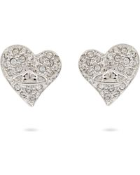 Vivienne Westwood | White Diamanté Heart Stud Earrings | Lyst