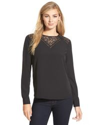 Cece by Cynthia Steffe - Black Lace Yoke Blouse - Lyst