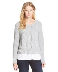 Eileen Fisher | Gray Bateau Neck Boxy Cable Knit Sweater | Lyst