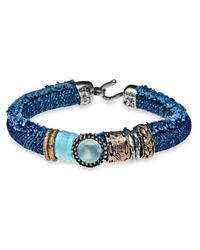 Platadepalo | Blue Classic Denim & Chalcedony Bracelet | Lyst