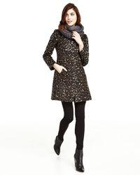 Via Spiga - Brown Leopard-print Stand-collar Coat - Lyst