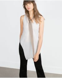 Zara | White Long Top | Lyst
