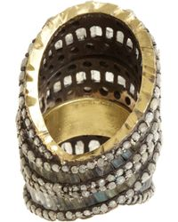 Nak Armstrong - Yellow Rainbow Moonstone, Labradorite & Grey Rustic Diamond Ring - Lyst