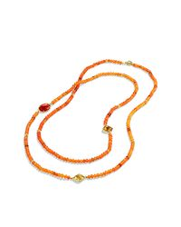 David Yurman - Dy Signature Bead Necklace With Orange Chalcedony And Carnelian In Gold - Lyst