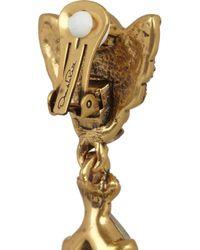 Oscar de la Renta   Metallic Goldplated Crystal Earrings   Lyst
