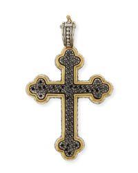 Konstantino - Metallic Pavé Black Diamond Cross Pendant - Lyst