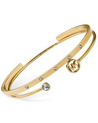 Michael Kors - Metallic Gold-Tone Crystal Logo Bangle Bracelet Set - Lyst