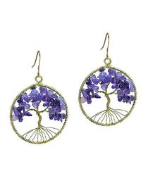 Aeravida | Eternal Tree Of Life Purple Amethyst Branch Brass Dangle Earrings | Lyst