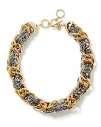 Banana Republic | Metallic Mixed Metal Woven Necklace | Lyst
