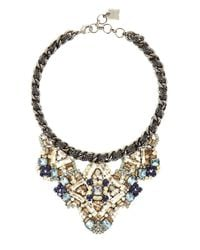 BCBGMAXAZRIA | Blue Stone Applique Chain Necklace | Lyst