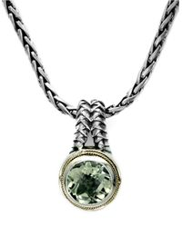Effy | Balissima Sterling Silver And 18k Yellow Gold Green Amethyst Pendant Necklace | Lyst
