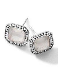Ippolita | Metallic Sterling Silver Stella Mother-Of-Pearl Stud Earrings With Diamonds | Lyst
