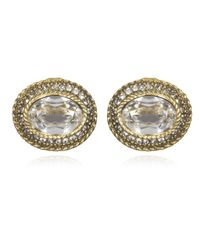 Elizabeth Cole | Metallic Oval Crystal Earrings | Lyst