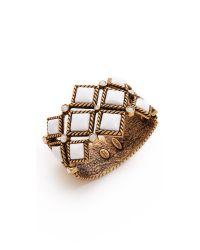 Oscar de la Renta - White Multi Diamond Resin Cuff - Lyst