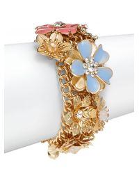 Saks Fifth Avenue - Multicolor Jeweled Flower Bracelet - Lyst