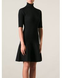 Michael Kors | Black Knitted Ribbed Dress | Lyst