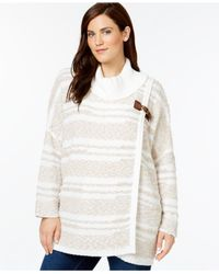 Calvin Klein | White Plus Size Wrap-look Eyelash-striped Sweater | Lyst
