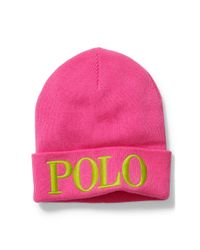 Polo Ralph Lauren | Pink Embroidered Wool-blend Beanie | Lyst