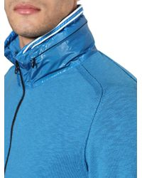Stone Island - Blue Techno Cotton Knit Hooded Sweater for Men - Lyst
