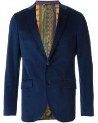 Etro - Blue Fitted Corduroy Blazer for Men - Lyst