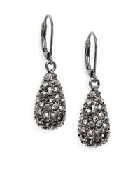 Saks Fifth Avenue | Metallic Pavé Teardrop Earrings/gunmetal | Lyst