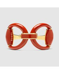 Gucci | Metallic Horsebit Bracelet In Red Enamel | Lyst
