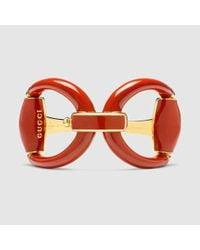Gucci - Metallic Horsebit Bracelet In Red Enamel - Lyst