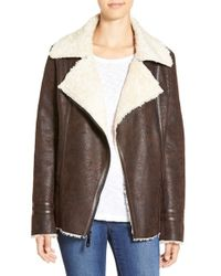 Vince Camuto | Brown Faux Shearling Jacket | Lyst
