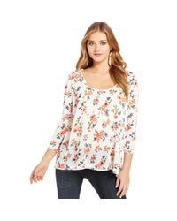 Jessica Simpson | Multicolor Three Quarter Sleeve Floral Print Top | Lyst