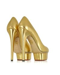Charlotte Olympia - Dolly Gold Metallic Leather Covered Platform Pump - Lyst