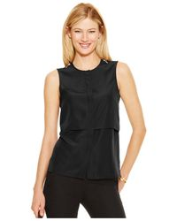 Michael Kors | Black Michael Petite Zip-shoulder Overlay Top | Lyst