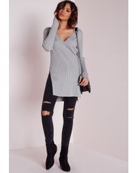 Missguided - Gray V Neck Knitted Rib Tunic Grey - Lyst