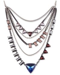 French Connection | Multicolor Hematite-Tone Stone Multi-Row Chain Frontal Necklace | Lyst