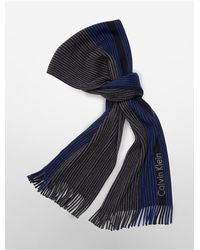 Calvin Klein | Blue White Label Pin Stripe Blocked Raschel Muffler Scarf | Lyst