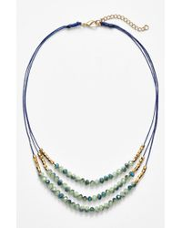 Panacea | Green Triple Row Beaded Quartz Necklace - Mint | Lyst
