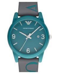 Emporio Armani - Blue Silicone Strap Watch for Men - Lyst