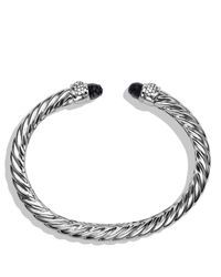 David Yurman | Metallic Waverly Cable Bracelet With Black Onyx & Diamonds | Lyst